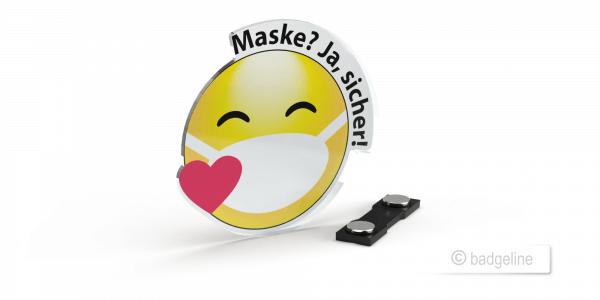 """LaserContur   Hinweisschild """"Maske? - Ja, sicher!"""" mit Magnet, Schutz von Mitarbeitern, Abstandschild, Hygienemaßnahme"""