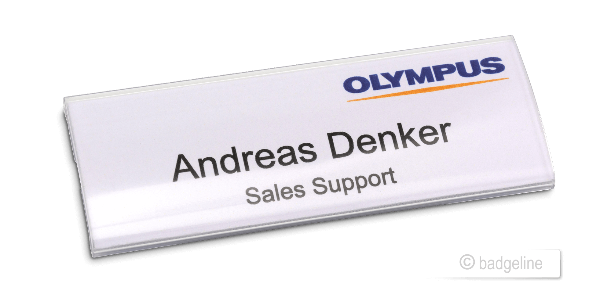 acrylic glas name badge self-inscription with magnet - ex stock
