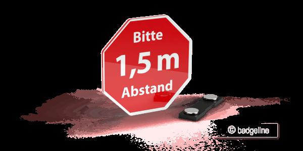 """LaserContur   Hinweisschild """"Bitte 1,5 m Abstand"""" mit Magnet, Schutz von Mitarbeitern, Abstandschild, Hygienemaßnahme"""