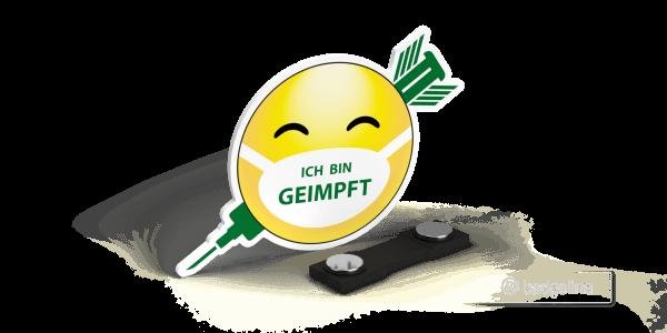 """Economy   Hinweisschild """"Smiley - Ich bin geimpft"""" mit Magnet, Hygienemaßnahme, Schutz von Mitarbeitern"""
