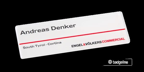 Namensschild LaserContur | Comfort 75x25 mm Flaeche Digitaldruck badge24
