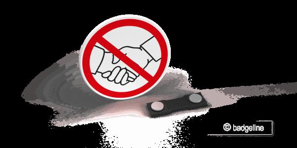 Economy Symbolschild, Button, no handshake, kein Händeschütteln, Hygienemaßnahme