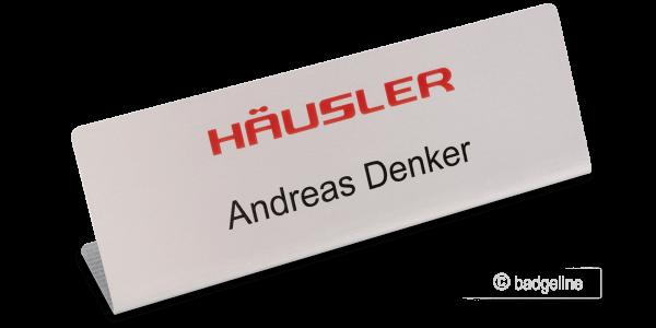Tisch-Namensschild AluContur Comfort 150x50 mm 4C-Untereloxaldruck
